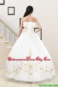2021 Spring Modest Beading Quinceanera Dresses in White