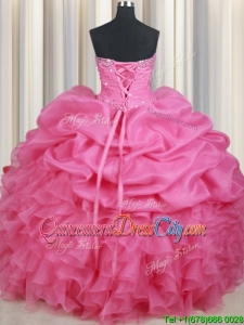 Gorgeous Sweetheart Ruffled Bubble and Beaded Quinceanera Dress in Rose Pink