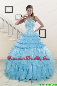 2021 Pretty Baby Blue Sweet 15 Dresses with Beading