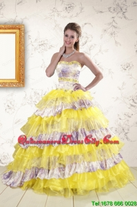 2021 Printed and Ruffles Multi-color Quinceanera Dresses
