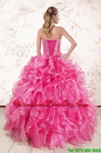2021 Top seller Hot Pink Quinceanera Dresses with Appliques and Ruffles