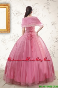 2021 Pretty Pink Quinceaneras Dresses with Appliques and Beading
