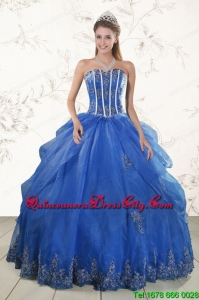 2021 Cheap Appliques Quinceanera Dresses in Royal Blue