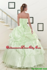 2021 Cheap Strapless Yellow Green Quinceanera Gowns with Beading