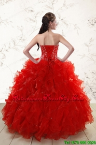 2021 Most Popular Red Quinceanera Dresses with Beading and Ruffles