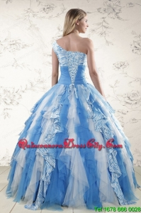 Multi Color One Shoulder Printed Quinceanera Dresses for 2022