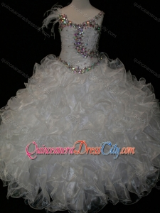 Elegant Ball Gown V Neck Organza Beading Lace Up Pageant Dresses for Kid in White