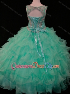 New Arrivals Mint Scoop Pageant Dresses for Kid with Beading and Ruffled Layers