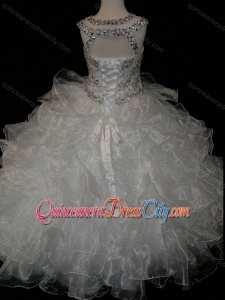 Princess Ball Gown Scoop Beaded Bodice Lace Up Pageant Dresses for Kid in White
