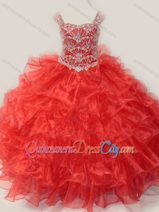 Ball Gown Straps Organza Beaded Bodice Lace Up Pageant Dresses for Kid in Red