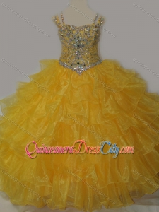 Beautiful Sweetheart Pageant Dresses for Kid with Spaghetti Straps in Yellow