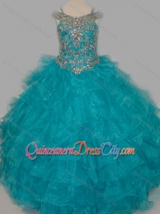 Cheap Really Puffy V-neck Teal Pageant Dresses for Kid with Rhinestones and Straps