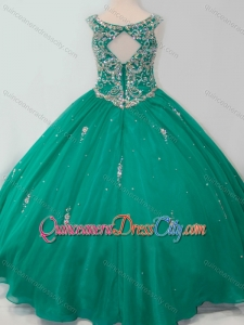 Classical Puffy Skirt Scoop Dark Green Pageant Dresses for Kid with Beading