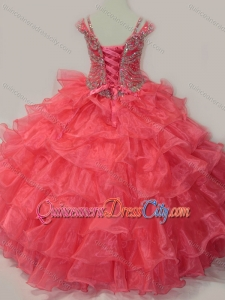 Perfect Sweetheart Beaded Pageant Dresses for Kid with Spaghetti Straps in Coral Red