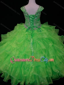 Perfect Sweetheart Ruffled Layer Pageant Dresses for Kid with Spaghetti Straps in Spring Green