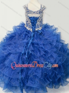 Puffy Skirt V-neck Beaded and Ruffled Layers Pageant Dresses for Kid with Straps