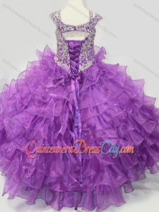 Puffy Skirt V-neck Lace Up Pageant Dresses for Kid with Straps and Ruffled Layers