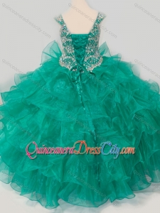Top Selling Princess Straps Organza Turquoise Lace Up Pageant Dresses for Kid with Beading