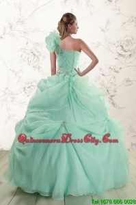 2021 Apple Green One Shoulder Cheap Quinceanera Dresses with Appliques