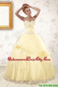 2021 Cute Beading Light Yellow Quinceanera Dresses