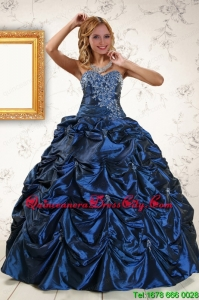 2021 Exclusive Appliques Navy Blue Quinceanera Dresses with Pick Ups