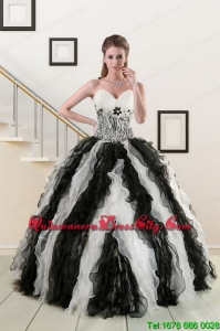 2021 Exclusive Black and White Quinceanera Dresses with Zebra and Ruffles