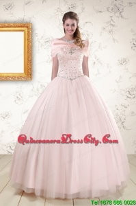 2021 Lovely Light Pink Beading Quinceanera Dresses