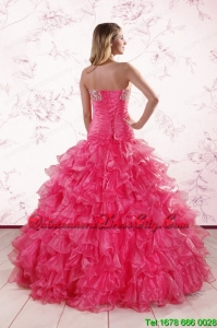 2021 Top Seller Sweetheart Hot Pink Quinceanera Dresses with Ruffles