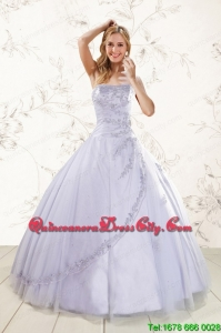 2021 Brand New Strapless Lavender Quinceanera Dresses with Appliques