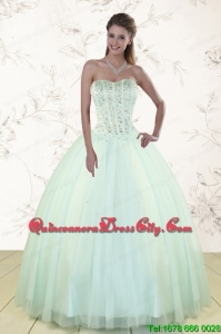 2021 Light Blue Sweet 15 Dresses with Beading