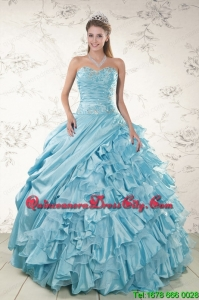 Beading Ruffles Aqua Blue Organza Quinceanera Dresses for 2022