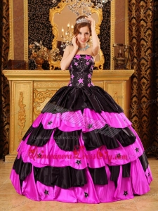 Black And Hot Pink Ball Gown Strapless Floor-length Taffeta Beading Quinceanera Dress
