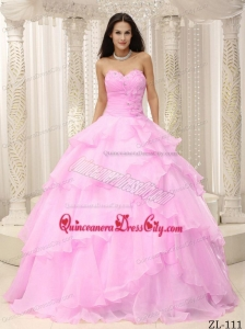 Ruched Bodice Hand Made Flowers Decorate Waist For Quinceanera Dress