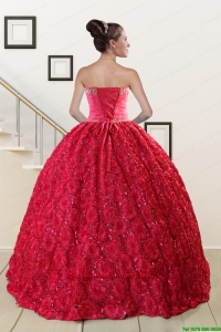 Customize Rolling Flower Beading 2015 Quinceanera Dresses in Coral Red