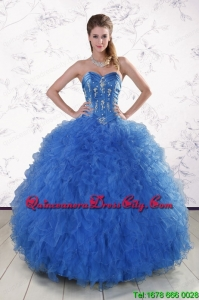 Pretty Royal Blue 2015 Quinceanera Dresses with Appliques and Ruffles