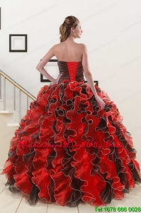 Spring Beaded Sweetheart Organza Quinceanera Dress in Multi-color