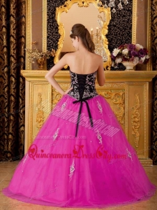 Hot Pink A-line / Princess Sweetheart Floor-length Tulle Beading Quinceanera Dress