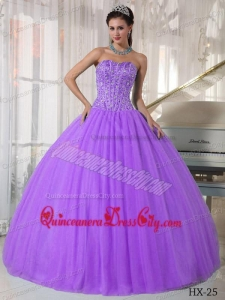 Laverder Ball Gown Sweetheart Floor-length Tulle Beading Quinceanera Dress