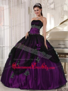 Purple and Black Strapless Floor-length Beading Quinceanera Dress