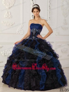 Blue and Black Ball Gown Strapless Taffeta and Organza Beading Quinceanera Dress