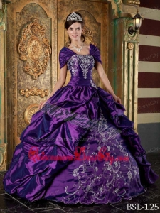 Eggplant Purple Ball Gown Strapless Floor-length Taffeta Embroidery Quinceanera Dress