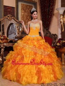 Golden Ball Gown Sweetheart Floor-length Organza Appliques and Beading Quinceanera Dress