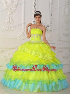 Yellow Ball Gown Strapless Organza Beading and Ruffles Quinceanera Dress