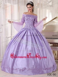 Lavender Ball Gown Off The Shoulder Taffeta and Organza Appliques Quinceanera Dress