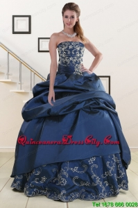 2021 Custom Made Embroidery and Beaded Quinceanera Dresses in Navy Blue