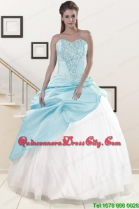 2021 Pretty Blue and White Quinceanera Dresses with Beading and Pick Ups