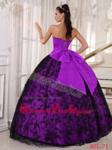 Ball Gown Sweetheart Lace Floor-length Purple and Black Quinceanera Dress