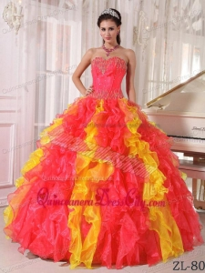 Coral Red Ball Gown Sweetheart Floor-length Organza Sequins Quinceanera Dress