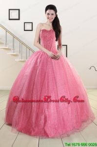 Simple Sweetheart Sequins Quinceanera Dress in Rose Pink For 2022