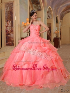 Watermelon Ball Gown Sweetheart Floor-length Organza Beading Quinceanera Dress